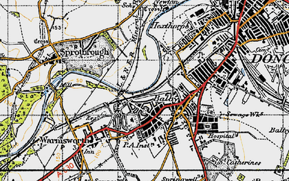 Old map of Balby in 1947