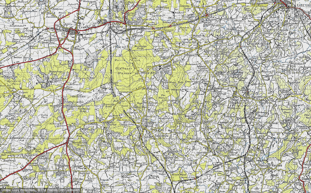 Old Map of Historic Map covering Balcombe Forest in 1940