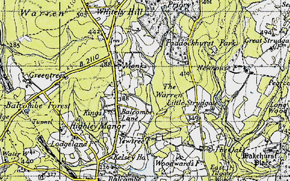 Old map of Balcombe Forest in 1940
