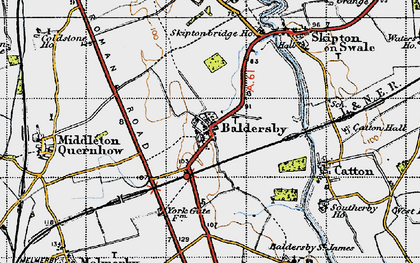 Old map of Baldersby in 1947