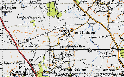 Old map of Baldon Row in 1947
