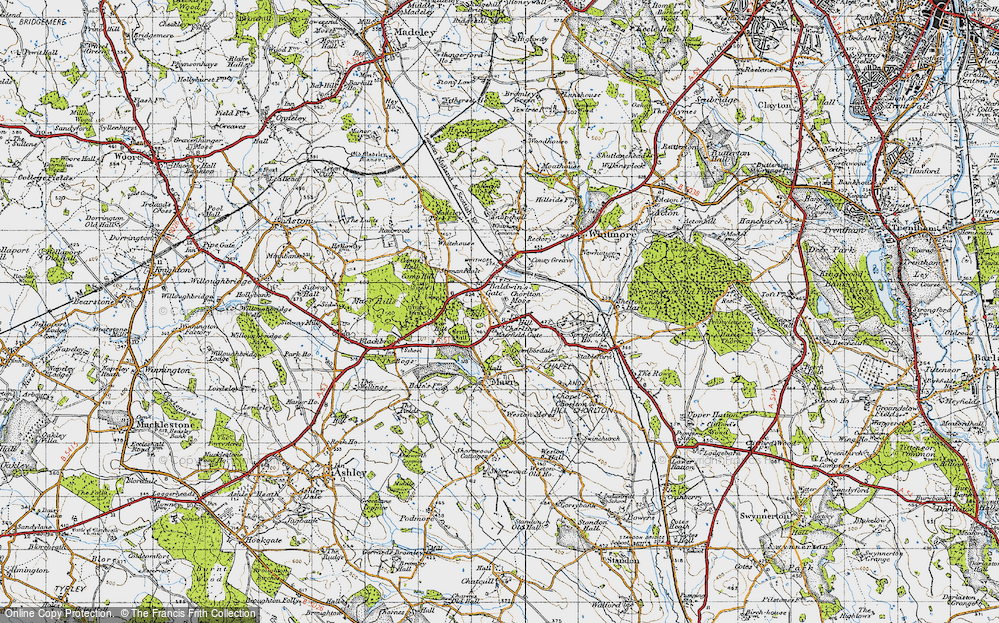 Old Map of Historic Map covering Whitmore Wood in 1946