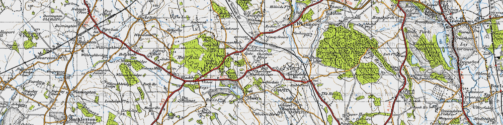 Old map of Whitemore Heath in 1946