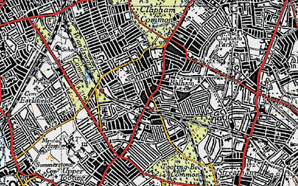 Old map of Balham in 1945