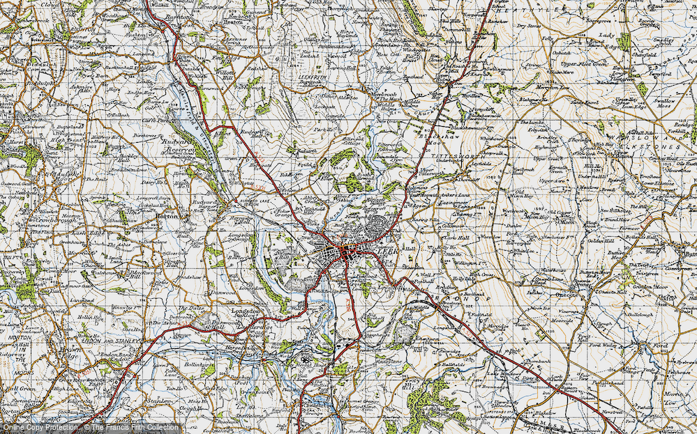 Old Map of Ball Haye Green, 1947 in 1947
