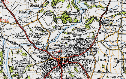 Old map of Ball Haye Green in 1947