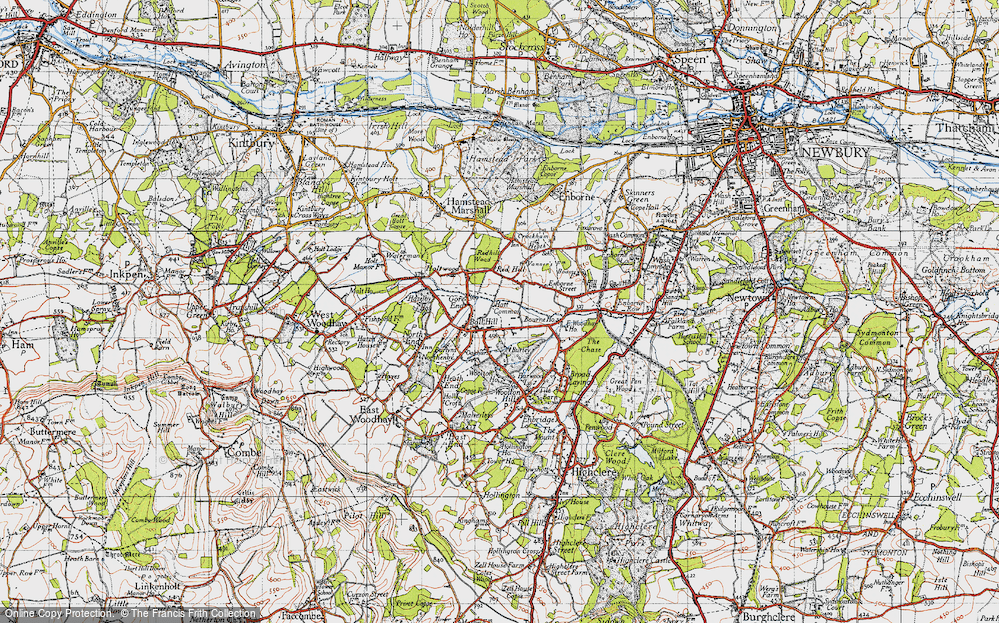 Old Map of Ball Hill, 1945 in 1945