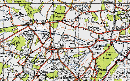 Old map of Ball Hill in 1945