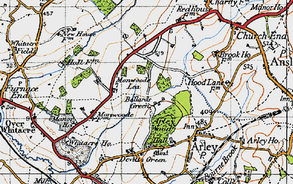 Old map of Ballard's Green in 1946