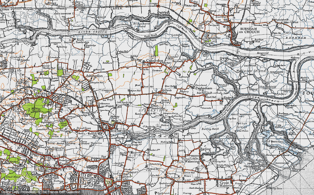 Old Map of Ballards Gore, 1945 in 1945