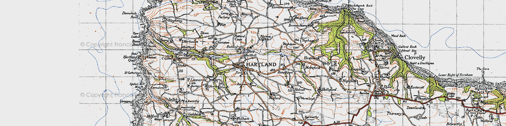 Old map of Ballhill in 1946