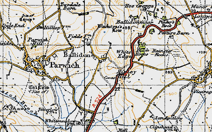 Old map of Ballidon in 1947