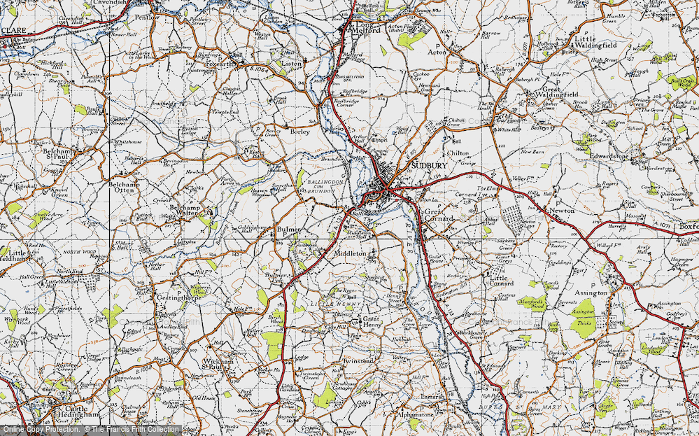Old Map of Historic Map covering Ballingdon Grove in 1946
