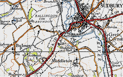 Old map of Ballingdon in 1946