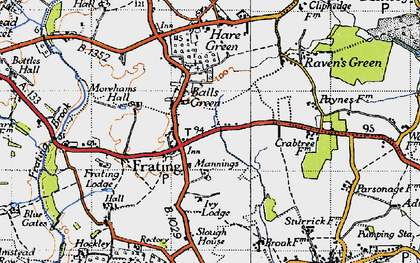 Old map of Balls Green in 1945
