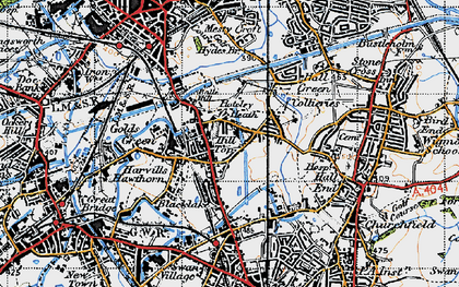 Old map of Balls Hill in 1946