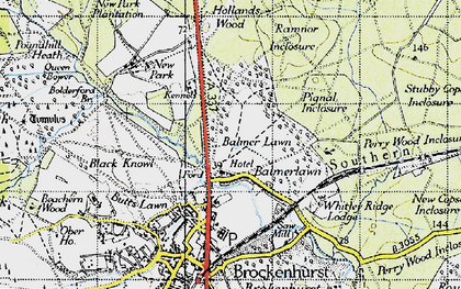 Old map of Balmerlawn in 1940