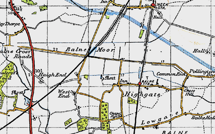Old map of Balne Moor in 1947
