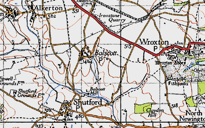 Old map of Balscote in 1946