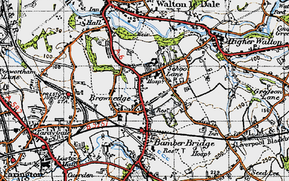 Old map of Bamber Bridge in 1947