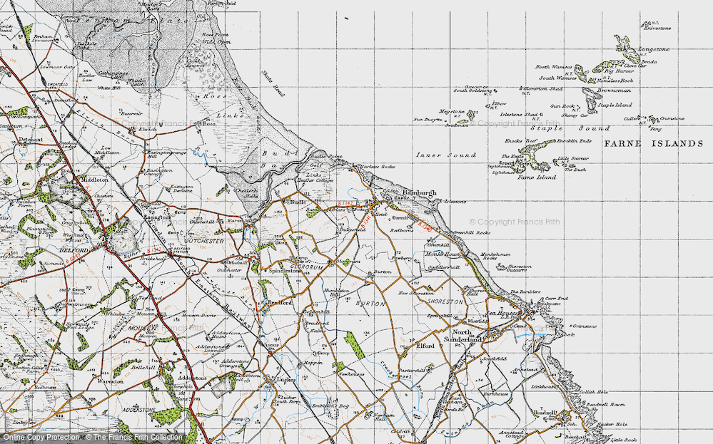 Old Map of Historic Map covering Bamburgh Castle in 1947