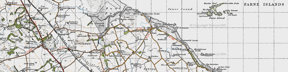 Old map of Bamburgh in 1947