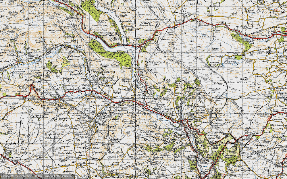 Old Map of Historic Map covering Bamford Moor in 1947