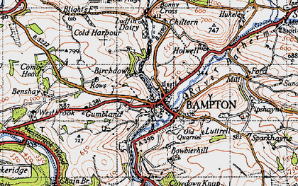 Old map of Bampton in 1946