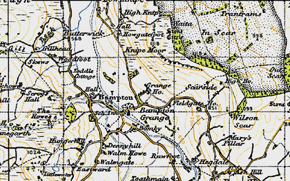 Old map of Bampton Grange in 1947