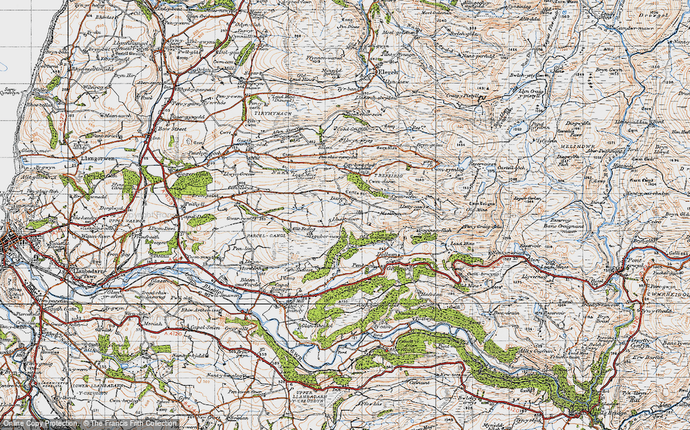 Old Map of Historic Map covering Afon Melindwr in 1947