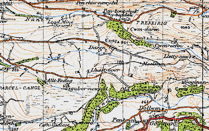 Old map of Afon Melindwr in 1947