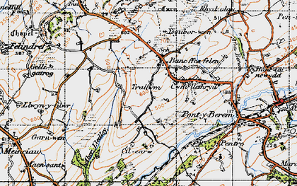 Old map of Aber Lledle in 1946