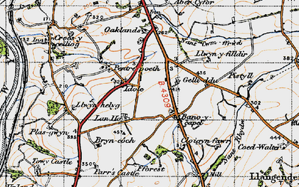 Old map of Bancycapel in 1946