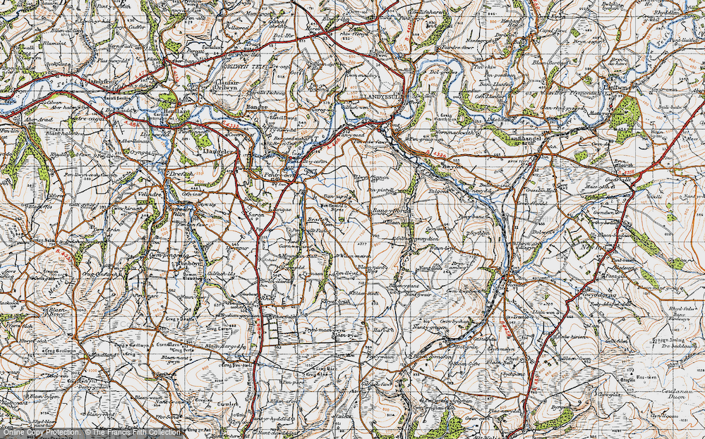 Old Map of Historic Map covering Afon Tyweli in 1947