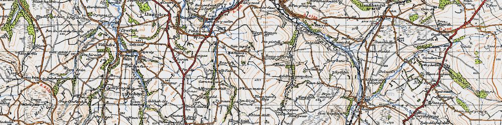 Old map of Afon Tyweli in 1947