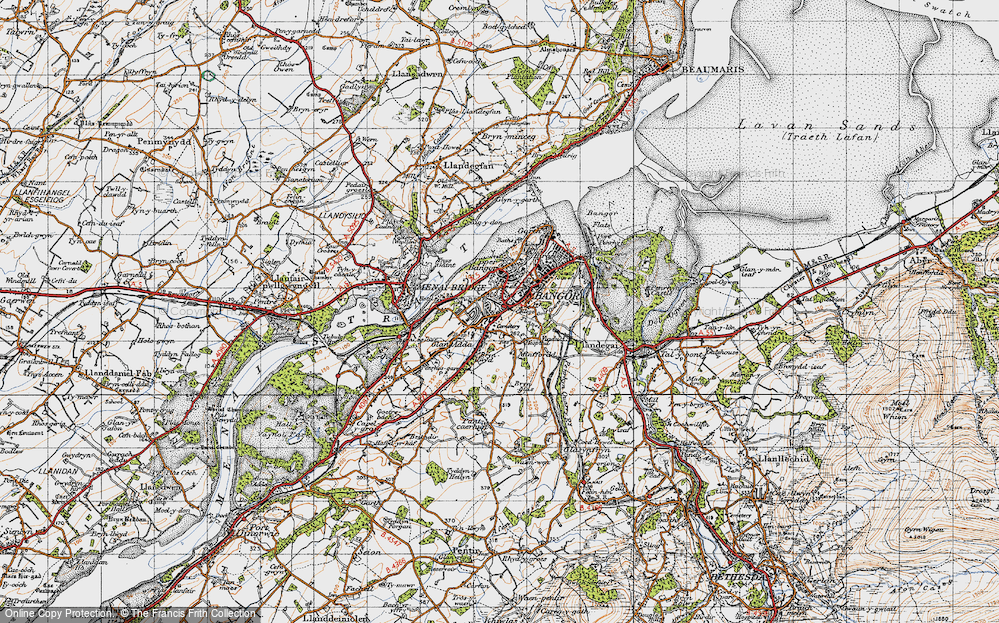 Old Map of Bangor, 1947 in 1947