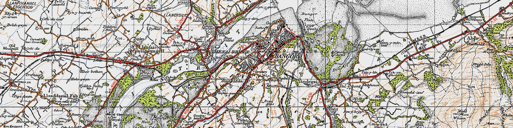 Old map of Bangor in 1947