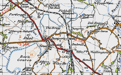 Old map of Bangor on Dee in 1947
