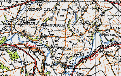 Old map of Bangor Teifi in 1947