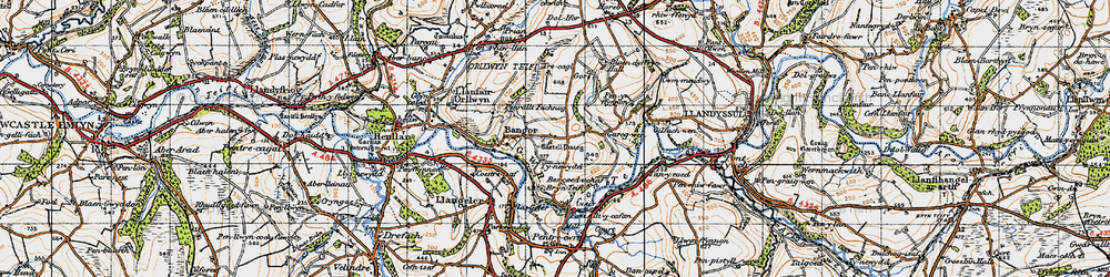 Old map of Aberhoffnant in 1947