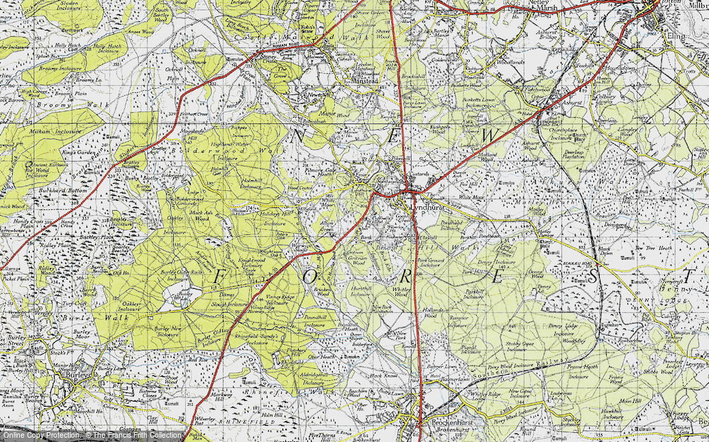 Old Map of Historic Map covering Allum Green in 1940