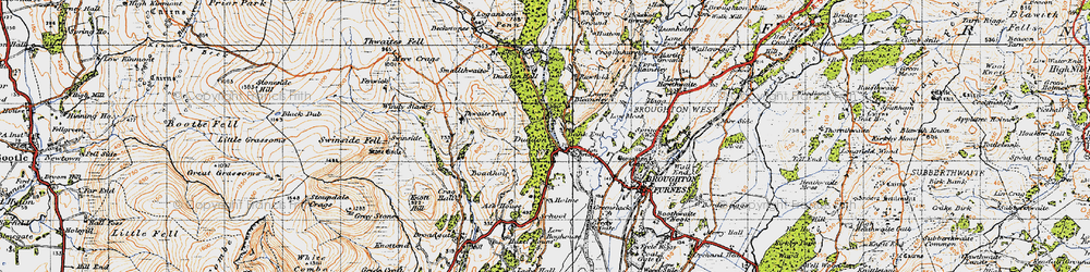Old map of Thwaite Yeat in 1947