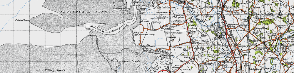 Old map of Thursland Hill in 1947