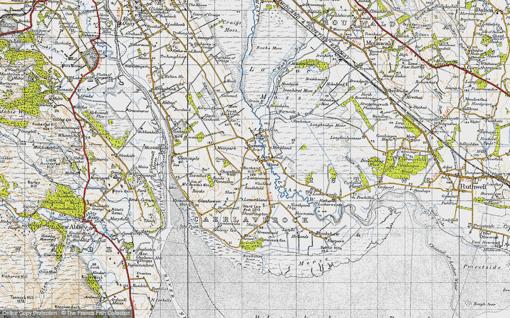 Old Map of Historic Map covering Bankend Hill in 1947