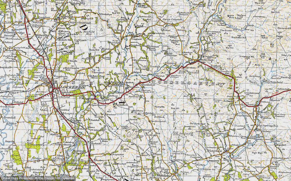 Old Map of Historic Map covering Linnhall in 1947