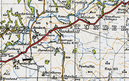 Old map of Whitstonehill in 1947