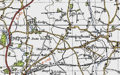 Old map of Banningham in 1945