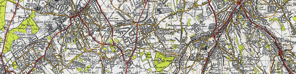 Old map of Banstead in 1945
