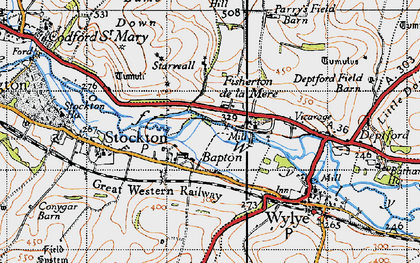 Old map of Bapton in 1940