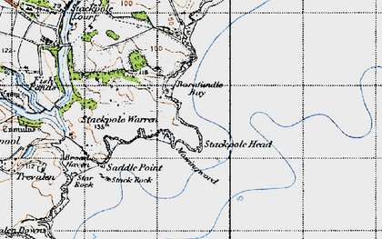 Old map of Barafundle Bay in 1946